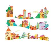 Set of colored cartoon houses painted by hand Royalty Free Stock Photography