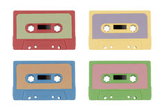 Set of colored cassette tapes stock image