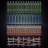 Set of colored chalk drawn borders with different fences. Royalty Free Stock Photography