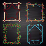 Set of colored chalk drawn Christmas and winter frames. Royalty Free Stock Photo