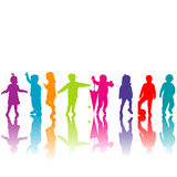 Set of colored children silhouettes Stock Images