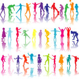 Set of colored children silhouettes playing Royalty Free Stock Image