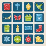 Set of colored Christmas icons in thin line style vector illustration