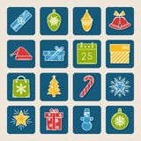 Set of colored Christmas icons in thin line style royalty free illustration