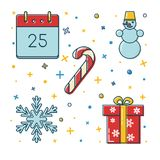 Set of colored Christmas icons in thin line style Stock Photos