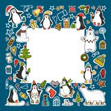 Set of colored Christmas icons royalty free illustration