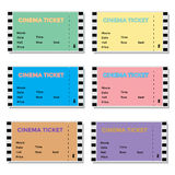 Set of Colored Cinema Tickets Stock Images