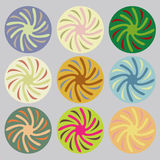 Set of colored circles. Collection of 9 abstract graphic design elements Royalty Free Stock Images