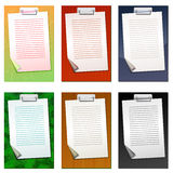 Set of colored clipboards with blank list. Set of six colored clipboards with blank list. EPS 10 Royalty Free Stock Image