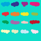 Set of colored cloud paper icons on jade  background Stock Images