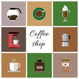 A set of colored coffee items Stock Photography