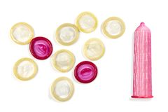 Set of colored condoms royalty free stock image