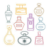 Set of colored contour perfumes. Royalty Free Stock Photography