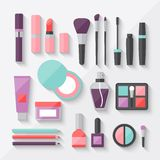 Set of colored cosmetics icons in flat style Royalty Free Stock Photo