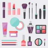 Set of colored cosmetics icons in flat style Stock Image