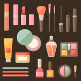 Set of colored cosmetics icons in flat style Royalty Free Stock Image