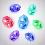 Set of colored crystals Royalty Free Stock Image