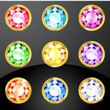Set of colored crystals Stock Images