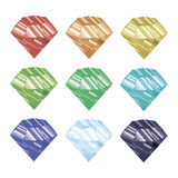 Set of colored crystals. vector illustration. Faceted jewel. Stock Image