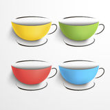 Set of colored cups with a saucers. Sketch Vector Illustration