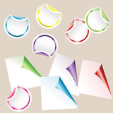 Set of colored curled  paper corners Royalty Free Stock Images