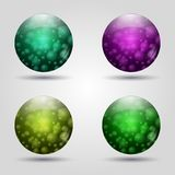 Set of colored 3d buttons. Icons for web. Vector design. Round with pattern bubbles inside Stock Image