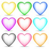 Set of Colored 3d Hearts isolated on white background for Your Design, Game, Card. Vector Illustration. Set of Colored 3d Hearts isolated on white background royalty free illustration