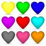 Set of Colored 3d Hearts isolated on white background for Your Design, Game, Card. Vector Illustration. Set of Colored 3d Hearts isolated on white background Vector Illustration