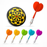 Set of colored Darts and target. Vector Stock Images