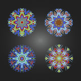 Set of colored decorative round ornaments. Royalty Free Stock Images