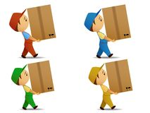 Set colored delivery boy with box Stock Photography