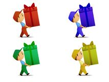 Set of colored delivery boy with gift box. Vector illustration. Set of walking delivery boy with gift box in various color Stock Photo