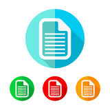 Set of colored document icons. Vector illustration. Stock Photo