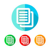 Set of colored document icons. Vector illustration. Royalty Free Stock Photography