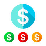 Set of colored dollar icons. Vector illustration. Royalty Free Stock Photography