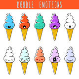 Set of 10 colored doodle ice cream with emotions. Dessert Royalty Free Stock Photo