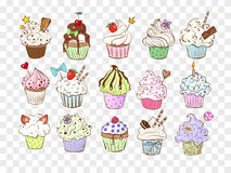 Set of colored doodle sketch cupcakes with decorations. Vector illustration. Royalty Free Stock Photo