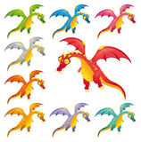 Set of colored dragons. stock illustration
