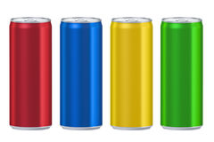 Set of colored drink metallic cans, 3D rendering Royalty Free Stock Photos