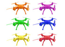 Set of colored drones isolated on white background stock images
