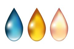 Set of colored drops on white background. Water, oil, cream Stock Photography