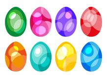 Set of Colored Easter Eggs. Colored easter eggs or color ostern egg icons with decoration patterns vector illustration Stock Photography