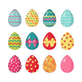 Set of colored easter eggs. Set of colored Easter eggs in flat style isolated on white background. Easter eggs icons collection. Vector illustration Royalty Free Stock Photos