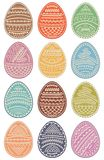 Set of colored Easter eggs. Vector illustration. Set of multi-colored Easter eggs with ornament Stock Image