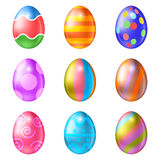 Set of colored Easter eggs on a white background. Easter eggs vector icons . Easter eggs isolated vector. Easter eggs for Easter holidays design.  Easter eggs Stock Image