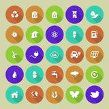 Set of colored ecology icons on round background Royalty Free Stock Photos