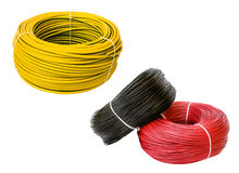 Set colored electric cable, isolated Stock Images