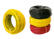 Set colored electric cable, isolated Stock Photos