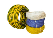Set colored electric cable, isolated Royalty Free Stock Image