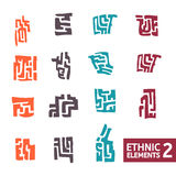 Set of colored elements in the ethnic style Royalty Free Stock Photos